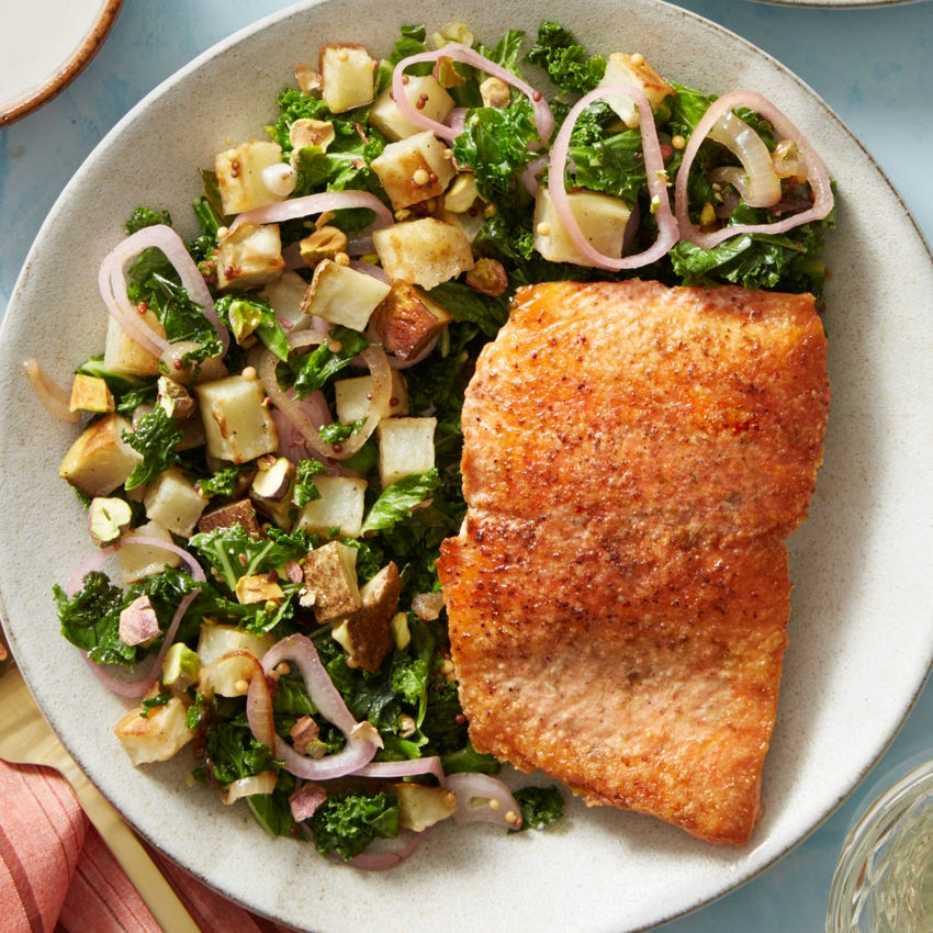 Seared Salmon & Roasted Potato Salad with Pickled Mustard Seeds & Crème Fraîche Sauce