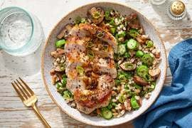Seared Pork & Scallion Pan Sauce over Barley, Mushrooms  & Gai Lan