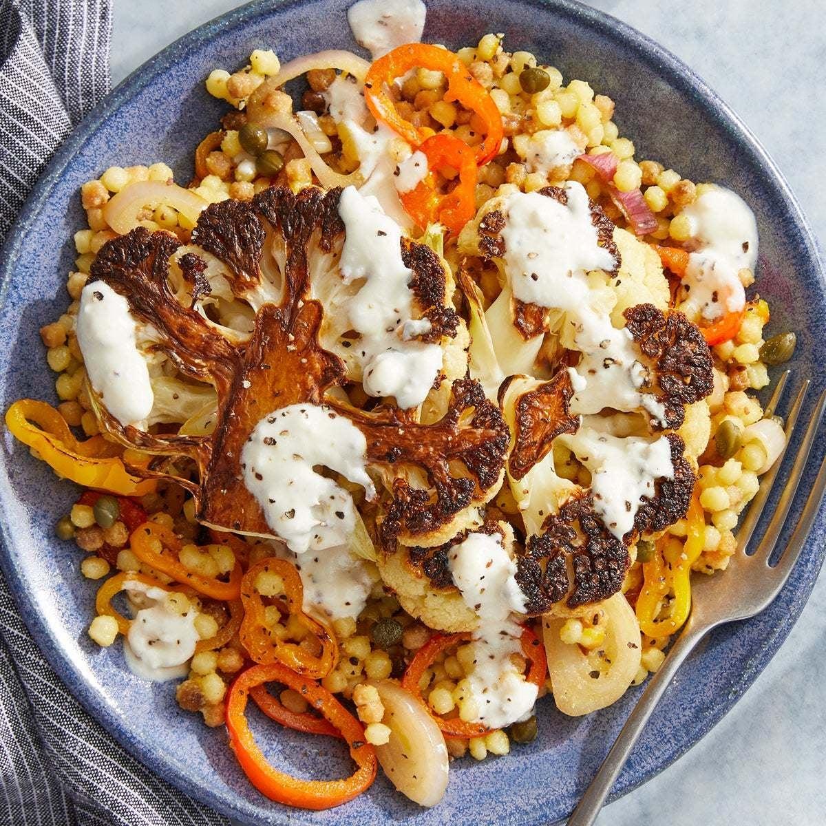 Roasted Cauliflower & Saffron Pasta with Goat Cheese Dressing