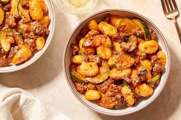 Zesty Beef & Gnocchi with Zucchini & Pecorino Cheese