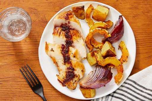 Seared Chicken & Sour Cherry Pan Sauce with Roasted Vegetables