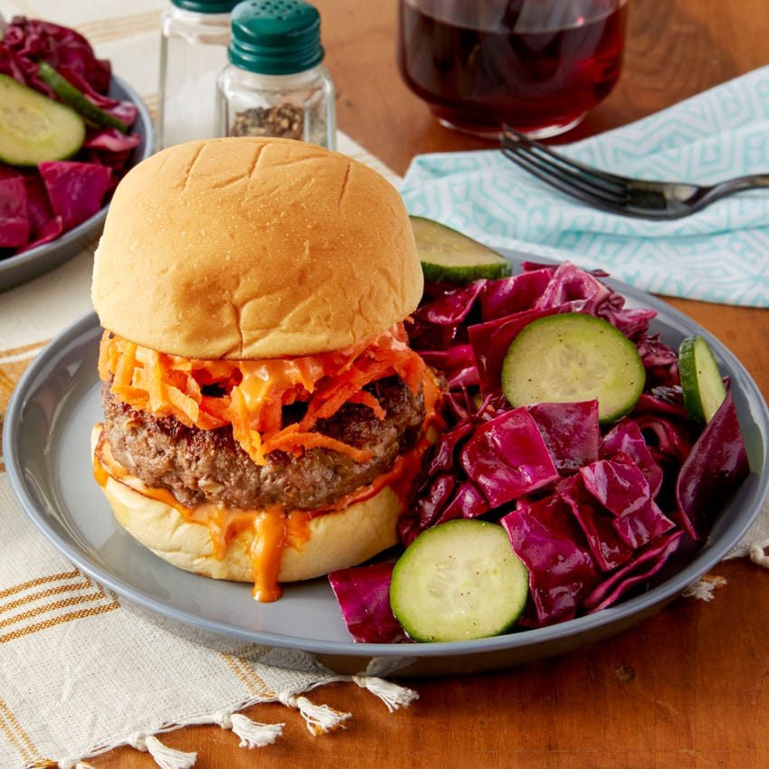 Lemongrass Burgers & Cabbage Slaw with Sriracha Mayonnaise & Pickled Carrots