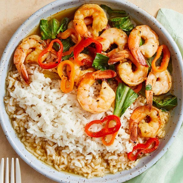 Shrimp in Lemongrass Broth with Vegetables & Jasmine Rice