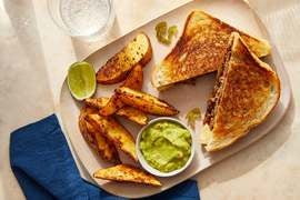 Mexican-Style Patty Melt with Potato Wedges & Guacamole