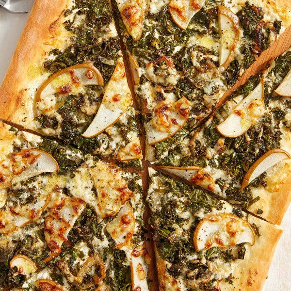 Kale & Pear Flatbread with Ricotta, Goat & Fontina Cheeses