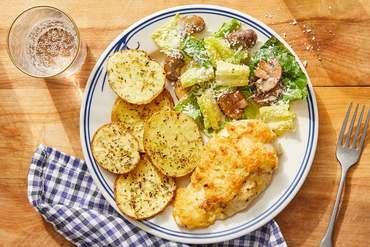 Fontina & Panko-Crusted Chicken with Roasted Potatoes & Balsamic Mushroom Salad