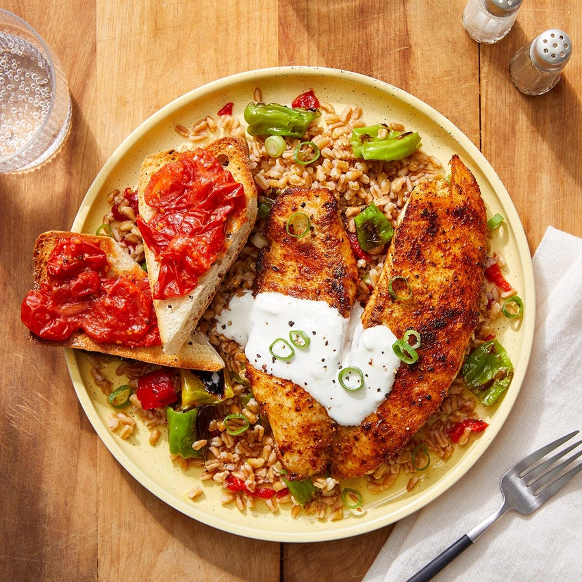 Spanish-Spiced Tilapia & Farro with Aioli & Pan Con Tomate