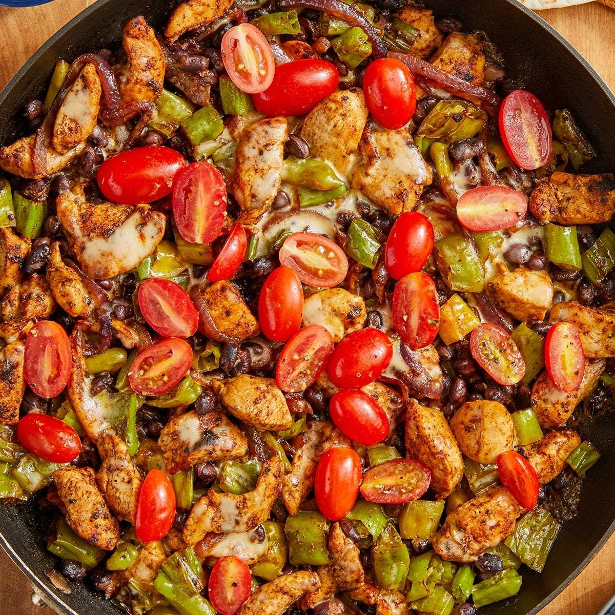 Cheesy Chicken Skillet with Black Beans & Shishito Peppers