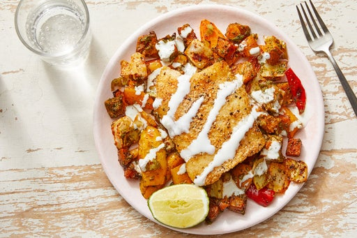 Mexican-Spiced Cod with Roasted Vegetables & Creamy Lime Sauce