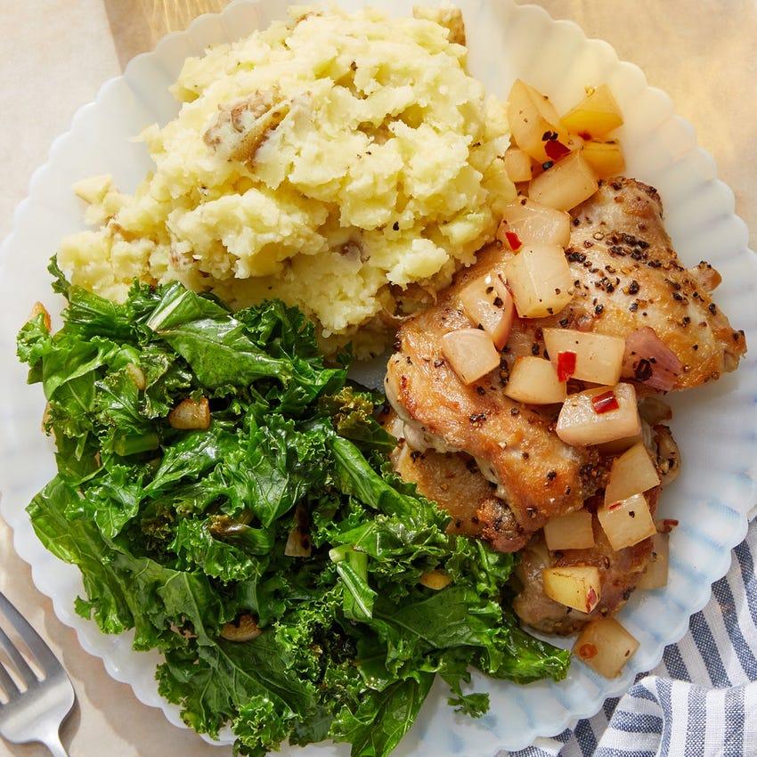 Seared Chicken & Nectarine Chutney with Mashed Potatoes & Sautéed Kale