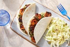 Mexican-Spiced Shrimp Tacos with Guacamole & Poblano Pepper