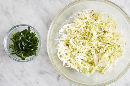 Prepare the ingredients & make the slaw: