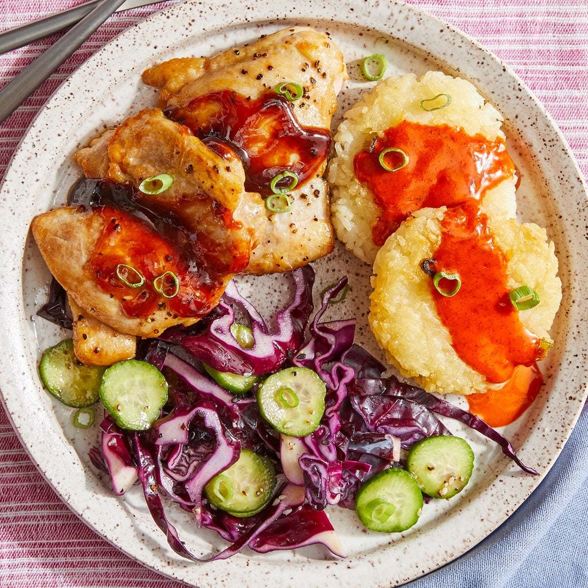 Hoisin & Honey-Glazed Chicken with Crispy Rice Cakes & Spicy Mayo