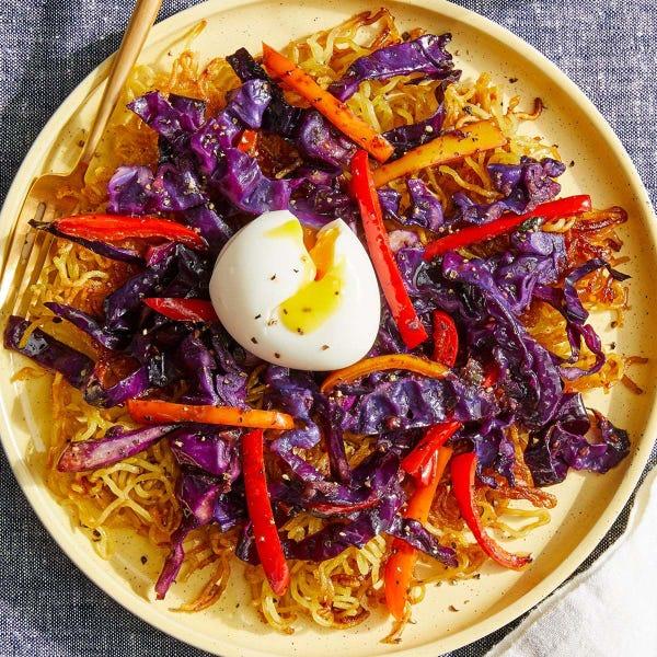 Crispy Pan-Fried Ramen with Soft-Boiled Eggs