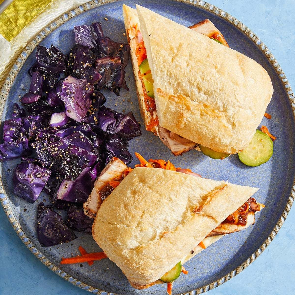 Pork Bánh Mì with Marinated Vegetables & Roasted Cabbage