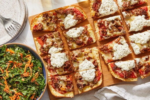 Cheesy Beef Focaccia Pizza with Kale Salad