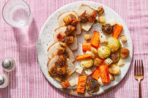 Pork & Apple-Sage Pan Sauce with Roasted Fall Vegetables
