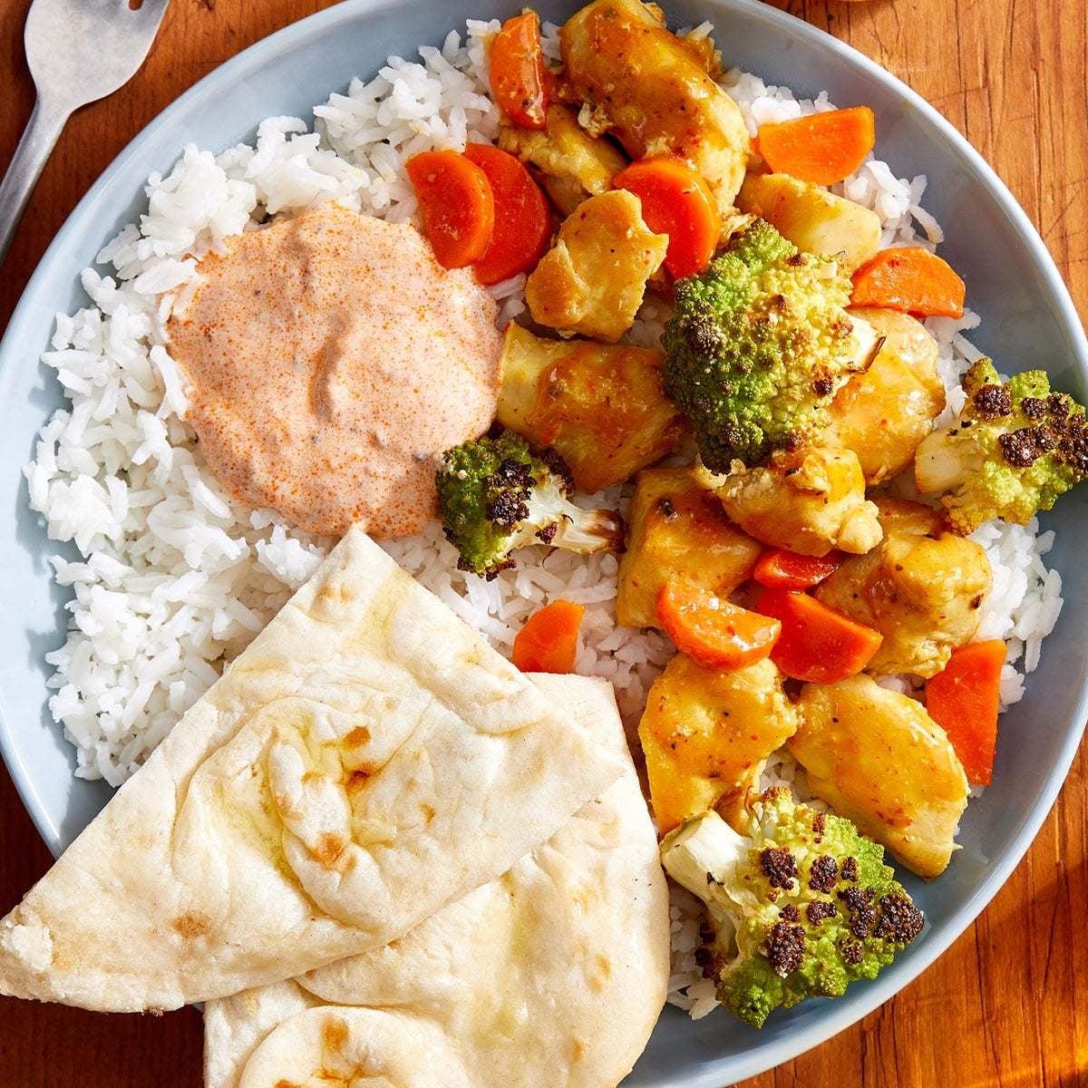 Coconut Curry Chicken & Cauliflower with Rice & Garlic Naan