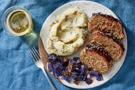 Hoisin-Glazed Meatloaf with Sesame Mashed Potatoes & Roasted Cabbage