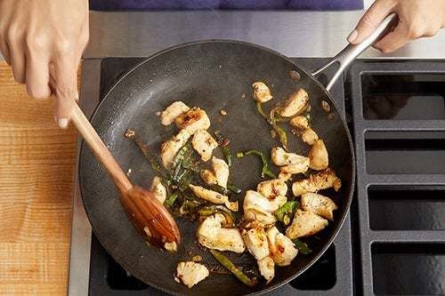 Cook the chicken & pepper: