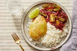 Cheesy Lime Chicken with Sautéed Vegetables & Garlic Rice