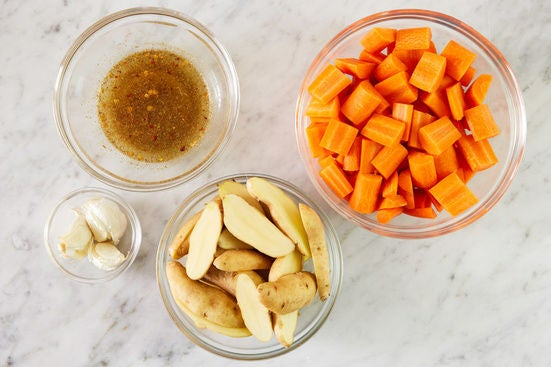 Prepare the ingredients & start the dressing: