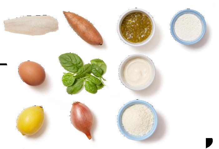 Crispy Catfish & Sweet Potato Fries with Spinach & Tartar Sauce ingredients