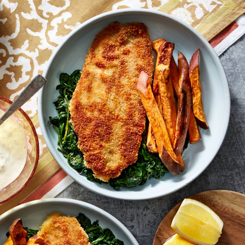 Crispy Catfish & Sweet Potato Fries with Spinach & Tartar Sauce