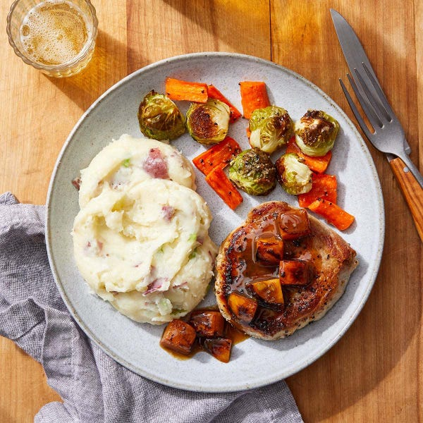 Pork Chops & Persimmon Sauce with Loaded Mashed Potatoes