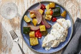 Sheet Pan Chicken & Vegetables with Tzatziki