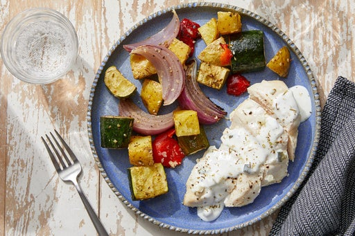 Sheet Pan Chicken & Vegetables with Tzatziki