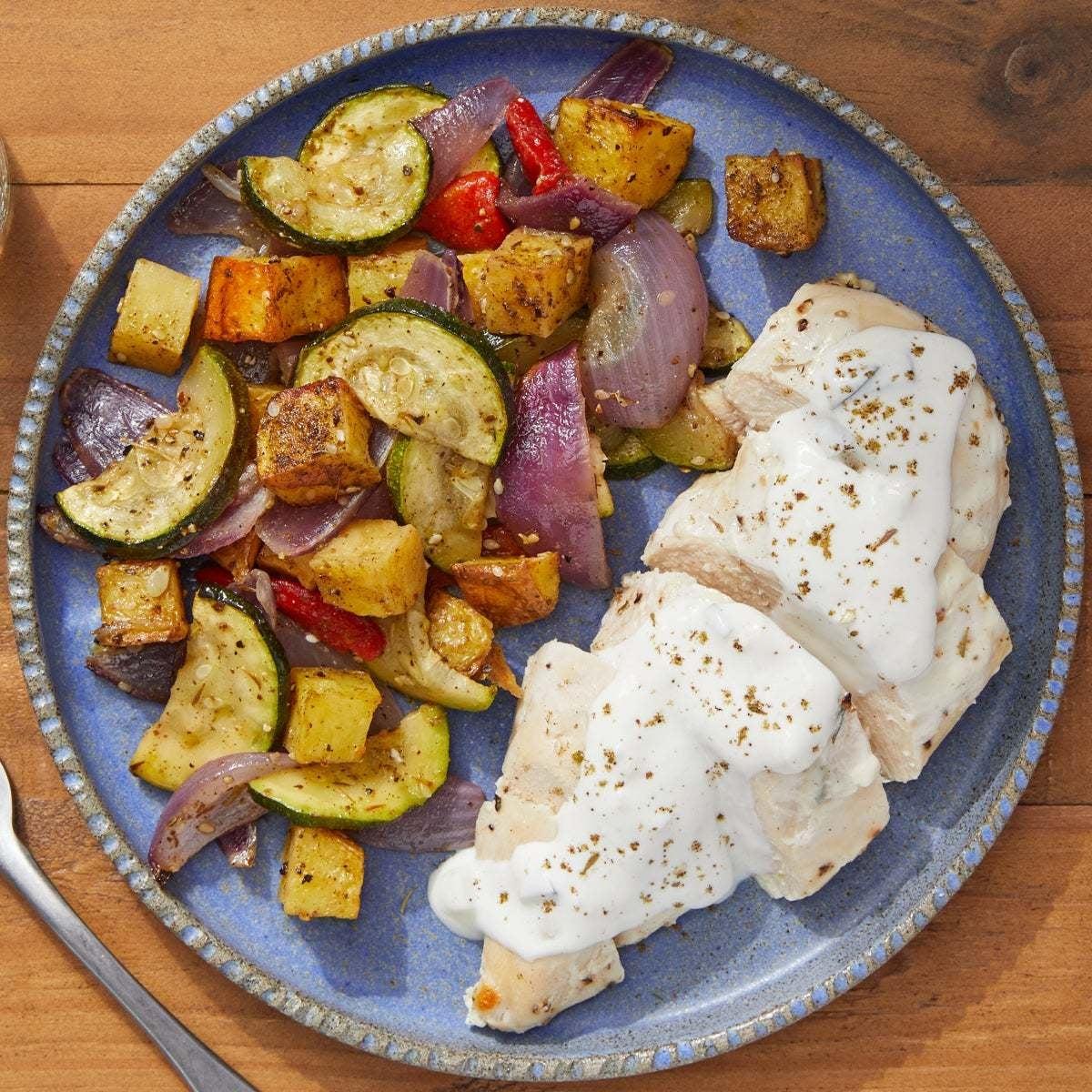 Sheet Pan Chicken & Vegetables with Tzatiki