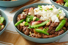 Beef Teriyaki Stir-Fry with Sugar Snap Peas & Lime Rice