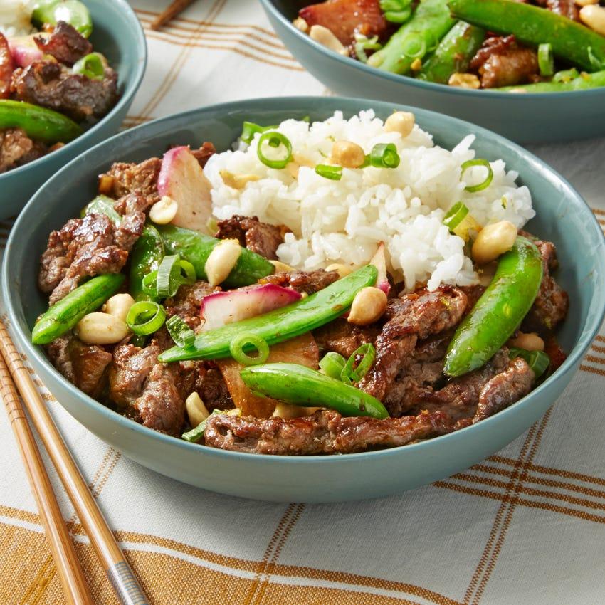 Beef Teriyaki Stir-Fry with Sugar Snap Peas & Lime Rice