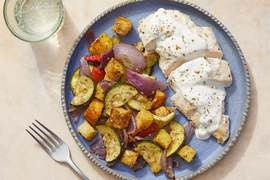 Roasted Chicken & Tzatziki with Za'atar Vegetables