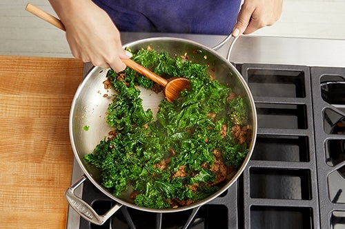 Cook the kale & add the sausage: