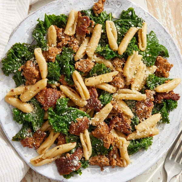 Cavatelli & Hot Italian Pork Sausage with Kale & Parmesan