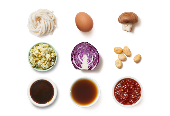 Udon Noodle Stir-Fry with Cabbage, Mushrooms & Fried Eggs