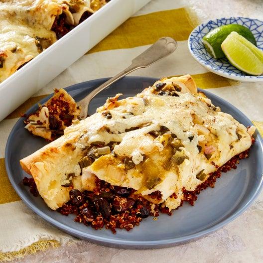 Black Bean & Quinoa Enchiladas with Poblano & Tomatillo Salsa Verde