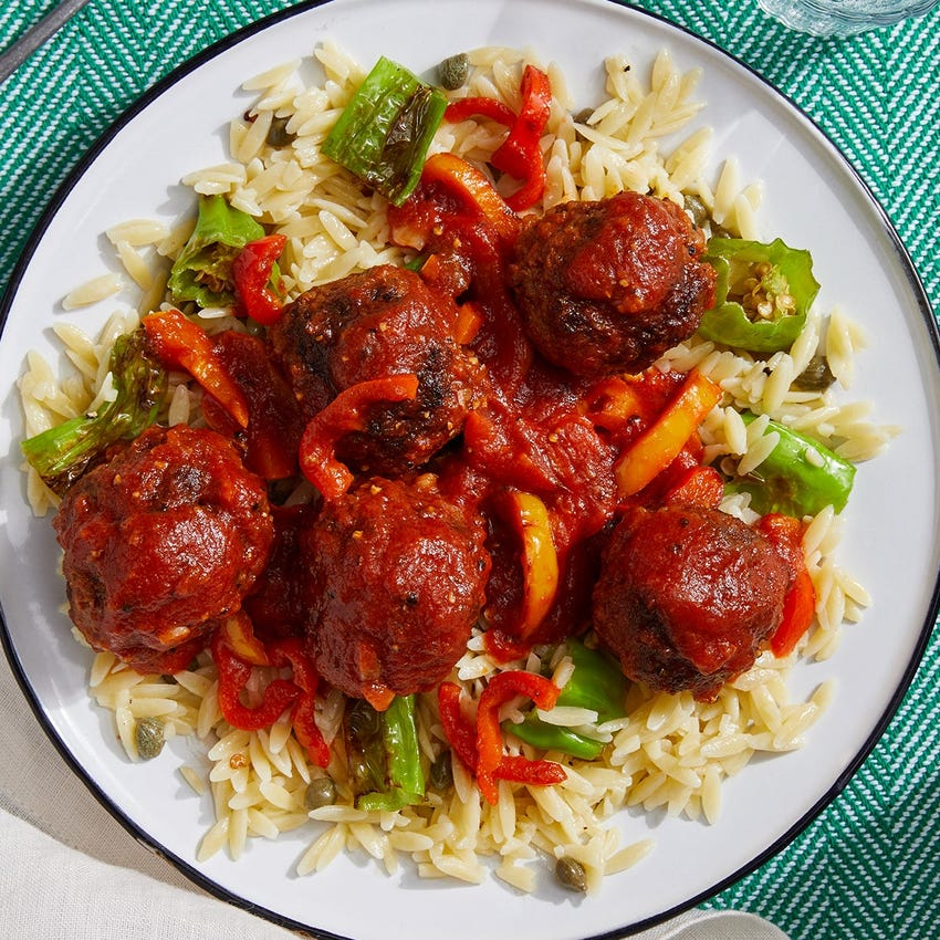 Harissa Meatballs & Tomato Sauce with Shishito Peppers & Orzo