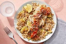 Oregano Chicken & Fresh Tomato Pan Sauce with Farro & Zucchini
