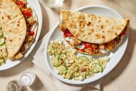 Za'atar-Spiced Chicken Pitas with Tzatziki & Pickled Peppers