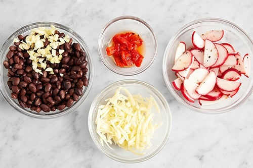 Prepare the remaining ingredients & marinate the radishes: