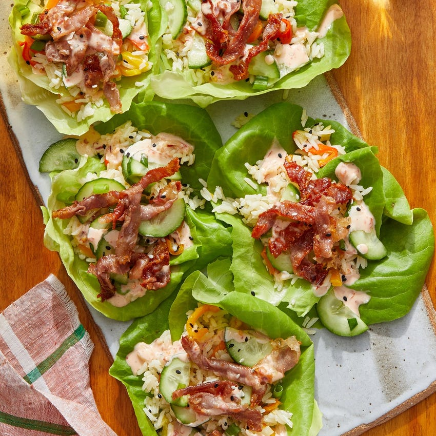 Crispy Prosciutto Lettuce Cups with Sambal Mayo & Sweet Pepper Rice