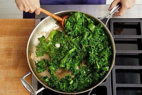 Make the brown butter kale & serve your dish: