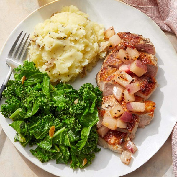 Pork Chops & Mashed Potatoes with Spicy Nectarine Pan Sauce