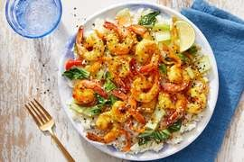 Vadouvan Shrimp & Sweet Chili Sauce with Aromatic Rice  & Sesame Seeds