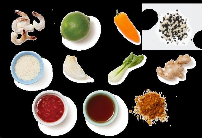 Vadouvan Shrimp & Sweet Chili Sauce with Aromatic Rice & Sesame Seeds