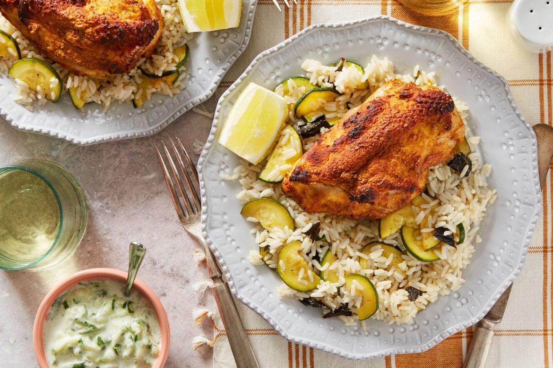Blue apron greek chicken - Tandoori Style Chicken Rice With Summer Squash Raita