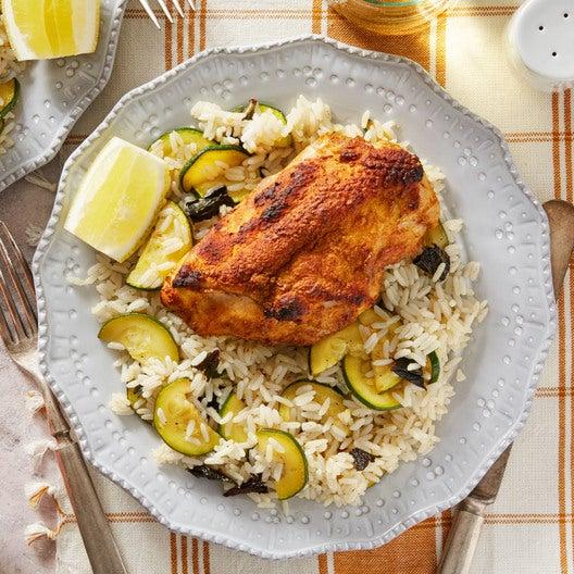 Tandoori-Style Chicken & Rice with Summer Squash & Raita